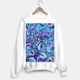 Miniatur spiral line drawing abstract pattern in blue pink black Sweater regular, Live Heroes