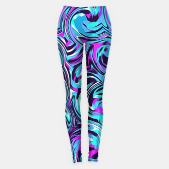 Miniatur spiral line drawing abstract pattern in blue pink black Leggings, Live Heroes