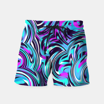 Miniaturka spiral line drawing abstract pattern in blue pink black Swim Shorts, Live Heroes