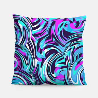 Miniatur spiral line drawing abstract pattern in blue pink black Pillow, Live Heroes