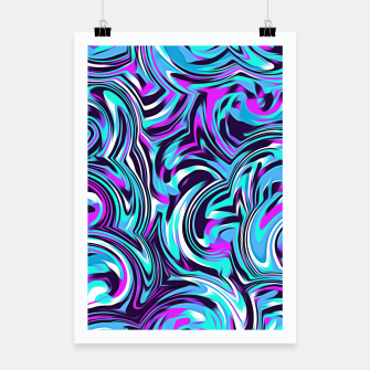 Thumbnail image of spiral line drawing abstract pattern in blue pink black Poster, Live Heroes