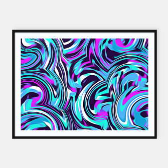 Miniatur spiral line drawing abstract pattern in blue pink black Framed poster, Live Heroes