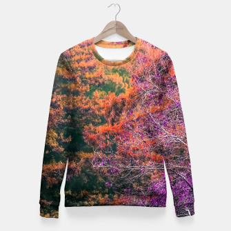 Miniaturka autumn tree in the forest in purple and brown Fitted Waist Sweater, Live Heroes