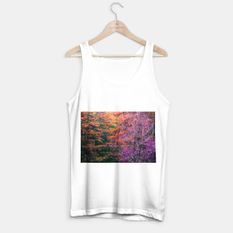 Miniatur autumn tree in the forest in purple and brown Tank Top regular, Live Heroes
