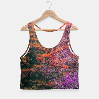 Miniatur autumn tree in the forest in purple and brown Crop Top, Live Heroes