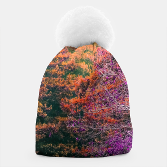 Miniatur autumn tree in the forest in purple and brown Beanie, Live Heroes
