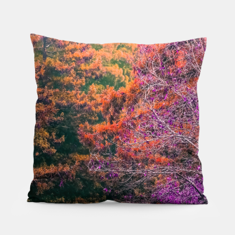 Miniatur autumn tree in the forest in purple and brown Pillow, Live Heroes