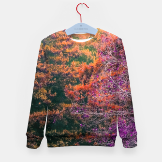 Miniatur autumn tree in the forest in purple and brown Kid's Sweater, Live Heroes