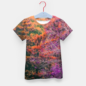 Miniatur autumn tree in the forest in purple and brown Kid's T-shirt, Live Heroes