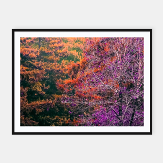 Miniatur autumn tree in the forest in purple and brown Framed poster, Live Heroes