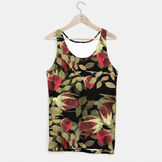 Miniaturka Seamless watercolor roses pattern on black Tank Top, Live Heroes