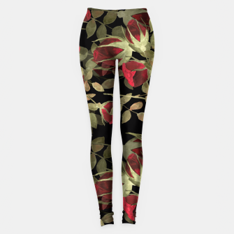 Miniatur Seamless watercolor roses pattern on black Leggings, Live Heroes