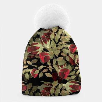 Miniatur Seamless watercolor roses pattern on black Beanie, Live Heroes