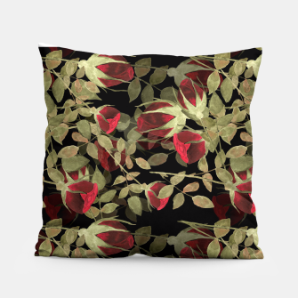 Miniaturka Seamless watercolor roses pattern on black Pillow, Live Heroes
