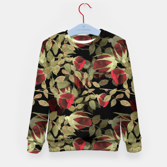 Miniatur Seamless watercolor roses pattern on black Kid's Sweater, Live Heroes