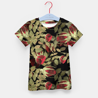 Miniatur Seamless watercolor roses pattern on black Kid's T-shirt, Live Heroes