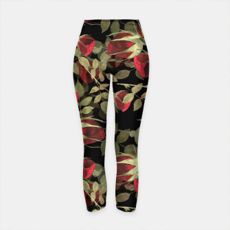 Miniatur Seamless watercolor roses pattern on black Yoga Pants, Live Heroes