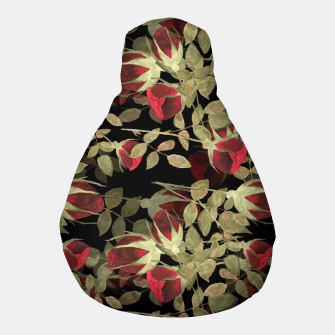 Miniatur Seamless watercolor roses pattern on black Pouf, Live Heroes