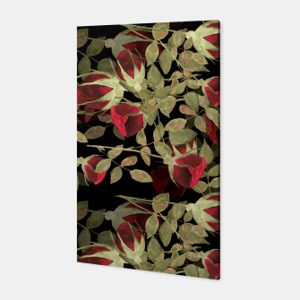 Miniatur Seamless watercolor roses pattern on black Canvas, Live Heroes