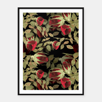 Miniatur Seamless watercolor roses pattern on black Framed poster, Live Heroes