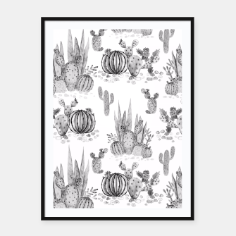 Miniatur Watercolor cactuses print Framed poster, Live Heroes