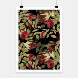 Miniaturka Seamless watercolor roses pattern on black Poster, Live Heroes