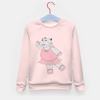 Thumbnail image of Ballerina Hippo - Pink Kid's Sweater, Live Heroes