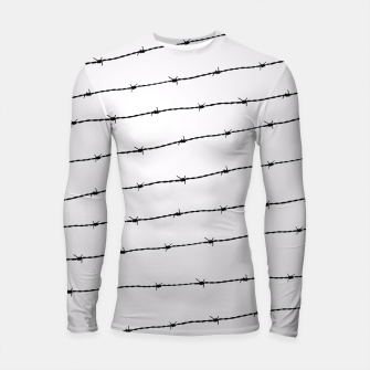 Thumbnail image of Cool gray white and black barbed wire pattern Longsleeve Rashguard , Live Heroes