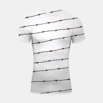Thumbnail image of Cool gray white and black barbed wire pattern Shortsleeve Rashguard, Live Heroes