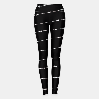Thumbnail image of Cool black and white barbed wire pattern Leggings, Live Heroes
