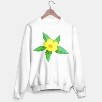 Miniatur Cute Yellow Flower with Leaves Photo Sweater regular, Live Heroes
