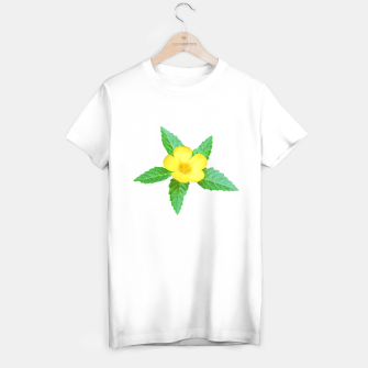 Imagen en miniatura de Cute Yellow Flower with Leaves Photo T-shirt regular, Live Heroes