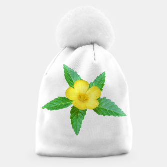 Miniatur Cute Yellow Flower with Leaves Photo Beanie, Live Heroes