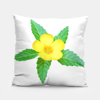 Miniatur Cute Yellow Flower with Leaves Photo Pillow, Live Heroes