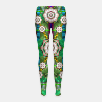 Miniatur pearl flowers in the glowing forest Girl's Leggings, Live Heroes