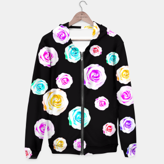 Miniature de image de colorful roses in pink orange purple green with black background Hoodie, Live Heroes