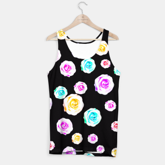 Miniature de image de colorful roses in pink orange purple green with black background Tank Top, Live Heroes