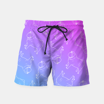 Vaporwave Pug Swim Shorts miniature