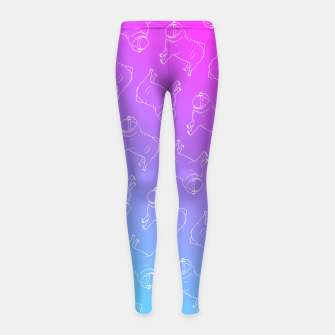 Vaporwave Pug Girl's Leggings miniature