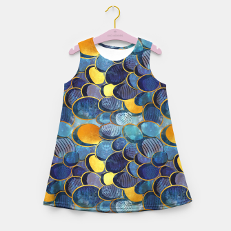 Thumbnail image of Abstract deep blue Girl's Summer Dress, Live Heroes