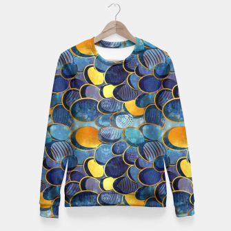 Thumbnail image of Abstract deep blue Fitted Waist Sweater, Live Heroes