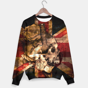 Thumbnail image of Grunge Skull and British Flag Sweater, Live Heroes