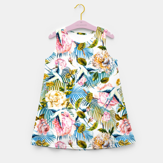 Miniatur Flowering Jungle of Birds - Pattern Vestido de verano para niñas, Live Heroes