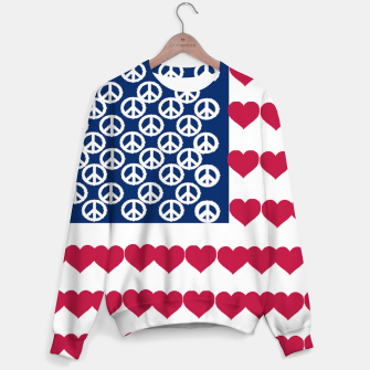 Thumbnail image of 4 july iindependence day love & peace usa flag Sweater, Live Heroes