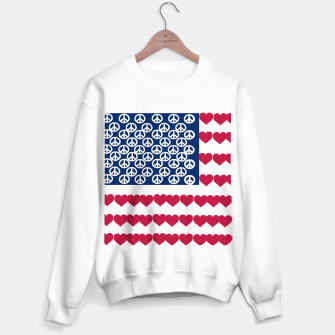 Thumbnail image of 4 july iindependence day love & peace usa flag Sweater regular, Live Heroes