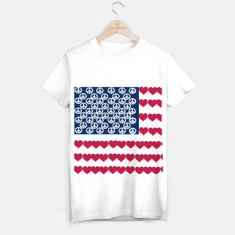 Thumbnail image of 4 july iindependence day love & peace usa flag T-shirt regular, Live Heroes
