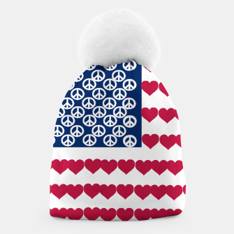 Thumbnail image of 4 july iindependence day love & peace usa flag Beanie, Live Heroes