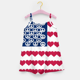Thumbnail image of 4 july iindependence day love & peace usa flag Girl's Dress, Live Heroes