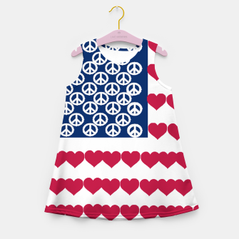Thumbnail image of 4 july iindependence day love & peace usa flag Girl's Summer Dress, Live Heroes