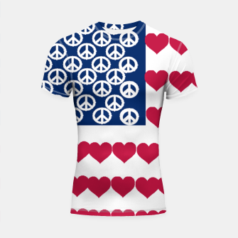 Thumbnail image of 4 july iindependence day love & peace usa flag Shortsleeve Rashguard, Live Heroes